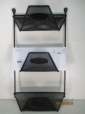 Black Metal Mesh 3 Slot Rubber Coated Wall Mount Rack Mail, Bills, Misc 18x9-1/2
