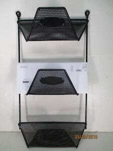 Black Metal Mesh 3 Slot Rubber Coated Wall Mount Rack Mail, Bills, Misc 18x9-1/2