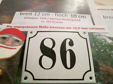 Hausnummer Emaille Nr. 86 schwarze Zahl auf weißem Hintergrund 12 cm x 10 cm
