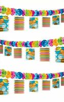 12FT Hawaiian Lei Tiki Paper Lanterns Garland Tropical Beach Party Decoration