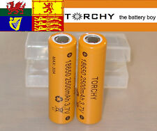 2x 30A Torchy (Samsung 25R) 2500mAh Flat Top 18650 3.7v Li-ion batteries +case