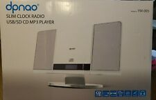 Dpnao Slim Clock Radio USB/SD CD MP3 Player Model YW-005 White