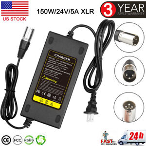 24V 5A 3-Pin XLR Battery Charger For Mobility Pride Scooter Jazzy Power Chair