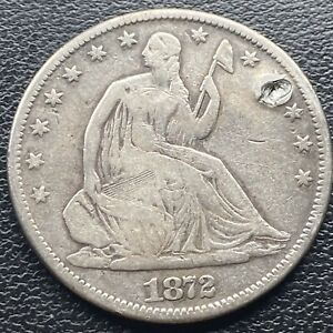 1872 CC Seated Liberty Half Dollar 50c CaRson City VF Details RARE #23880