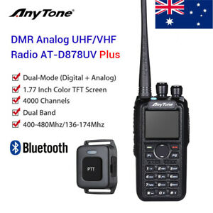 AnyTone AT-D878UV Plus GPS Dual Band VHF UHF DMR Analog Handheld Radio PTT BT XT