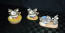 "Lot/3 Fitz & Floyd Charming Tails ""Cup Of Tea"" Figurines & Candle Topper"