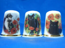 Birchcroft China Thimbles -- Set of Three -- Cats and Poppies