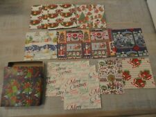 Mixed Lot Vintage 1970s Christmas Gift Wrap in Box Santas Skaters Bears Village