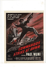 1942 PAUL MUNI ANNA LEE LILLIAN GISH IN COMMANDOS STRIKE AT DAWN AD PRINT K370