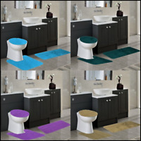 3PC BATHROOM SET PILE RIBBED BATH MAT CONTOUR RUG LID COVER SOLID COLORS #6 NEW