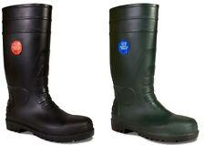 MENS SAFETY WELLINGTON BOOTS WORK STEEL TOE CAP WELLIES BLACK GREEN SIZE 3 -14