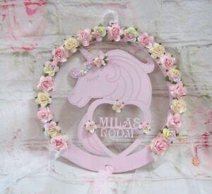 PERSONALISED MDF Unicorn Hoop Plaque Bedroom, Door, Sign 30cm
