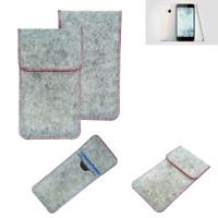 Copertura in feltro p. HTC U Play grigio chiaro bordo rosso Custodia tasca borsa