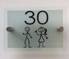 MODERN HOUSE SIGN PLAQUE DOOR NUMBER /FAMILY GLASS EFFECT ACRYLIC FROSTED SILVER