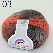 AIP Soft Cashmere Wool Colorful Rainbow Wrap Shawl DIY Hand Knit Yarn 50gr 03