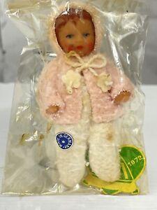 "Vintage German ARI Baby Doll Girl Pink Sweater NOS 3"" Miniature SEALED"