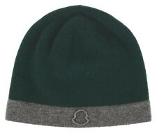 NEW MONCLER EXTRA SOFT WOOL GREEN GRAY LOGO BEANIE SKULL HAT ONE SIZE