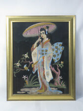 Vintage Japanese Geisha Girl Woman Kimono Parasol Oil On Velvet Painting