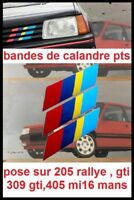 stickers pts calandre Peugeot Talbot Sport 205 GTI,rallye 104 405mi16 STICKER