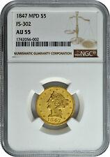 1847 Gold MPD $5 FS-302 Half Eagle Liberty Head Coin NGC AU 55