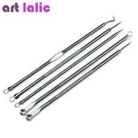 5 Stainless Steel Acne Extractor Removing Tool Face Skin Care Blackhead Needles