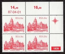 South Africa: South African Architecture; unmounted mint block of 4; 16c
