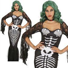 Adults Black Skeleton Mermaid Costume Halloween Fancy Dress Womens Outfit