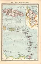 1907  LARGE ANTIQUE MAP - WEST INDIES-LESSER ANTILLES, LEEWARD, WINDWARD