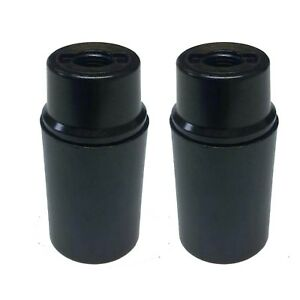 2 x SES E14 Light Bulb Lamp holders 10mm, in Black Plastic, Unswitched (A105)