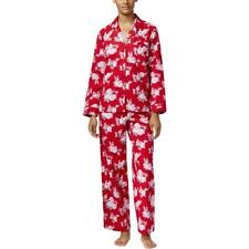Charter Club Womens Notch Collar Red Flannel Pajama Top Pant Set New Sz XS