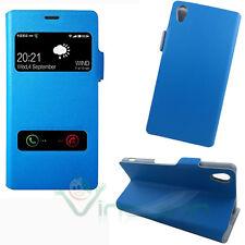 Custodia cover ALL VIEW eco pelle rigida per Sony Xperia Z3 azzurra due finestra