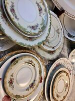 Vintage Mismatched China 10 place settings w/ Servers Dinnerware Set #15