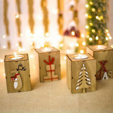 1x Nice Christmas Mini Wooden Candlestick Unique Home Candle Holder Winter Decor