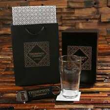 Personalized 20 oz Beer Pint Glass & Bottle Pro Opener Groomsmen Gift Set