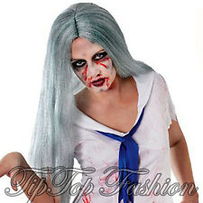 New Ladies Long Grey Zombie Wig Monster Bride Halloween Fancy Dress