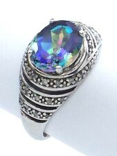 Vintage Women Lady Size 9 US Moon Stone Sterling Silver 925 Solitaire Ring G680