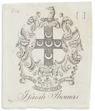 Bookplate Engraved & Printed by Paul Revere in Boston Pre-1800 for Isaiah Thomas