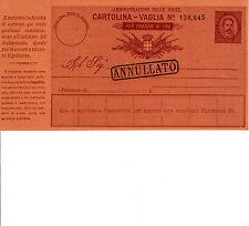 REGNO - CARTOLINA VAGLIA 10c 4 LIRE 1890 - Varietà A piccola - Nuova