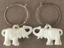Vintage 1.5� Cream Figural Elephant Charm Gold Tone Metal Hoop Dangle Earrings