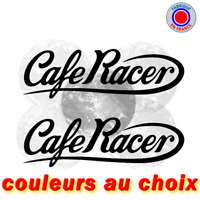 2 Stickers Café Racer bobber biker Decals autocollant 20cm Couleurs au choix