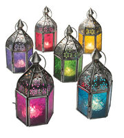 AUTHENTIC MOROCCAN MINI IRON TONAL GLASS LANTERN TEA LIGHT HOLDER HOME & GARDEN