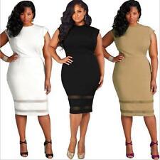 US Women Plus Size Design Solid Sleeveless Bodycon Gauze Splice Party Mini Dress