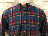 VTG Pendleton Pure Wool Plaid Button Front Shirt Size large Blue Red Check USA