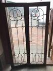 SG 1679 matched pair antique oak leaded glass bookcase doors 32 x 49 3/8