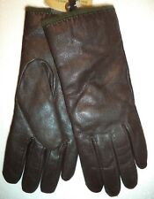Ladies Green Angora/Lambswool Lined Genuine Leather Gloves,Brown, Small