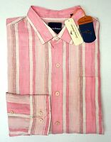New w Tags $118 Tommy Bahama Pink Striped Long Sleeve Shirt Button Down Linen