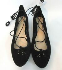 New Nine West Women's Dressing Flats Lace Up W/ Detail Suede Black Size: 10M