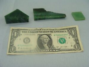 3 Pieces of Polished Jade , Nephrite Chunks 137g Total - U.S. Seller