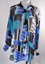 Lane Bryant Tie Neck Sheer Blouse Top 14 16 XL Long Sleeve Blue Geo Blocks