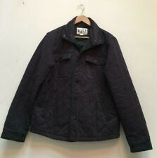 Mens Reiss Navy Blue Quilted Long Sleeve Coat Jacket Size Large